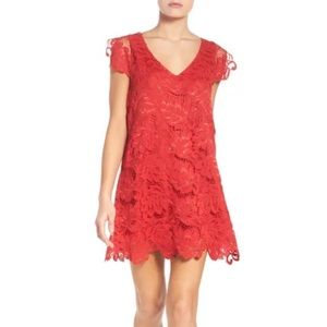 BB Dakota Red Jacqueline Lace Shift Dress Small